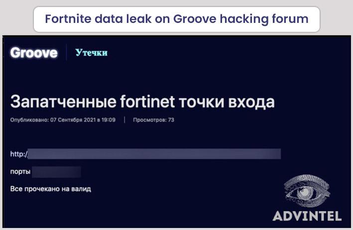 Fortnite Data Leak on Groove Hacking Forum
