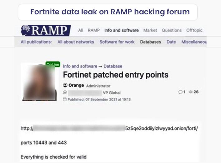 Fortnite Data Leak on RAMP Hacking Forum